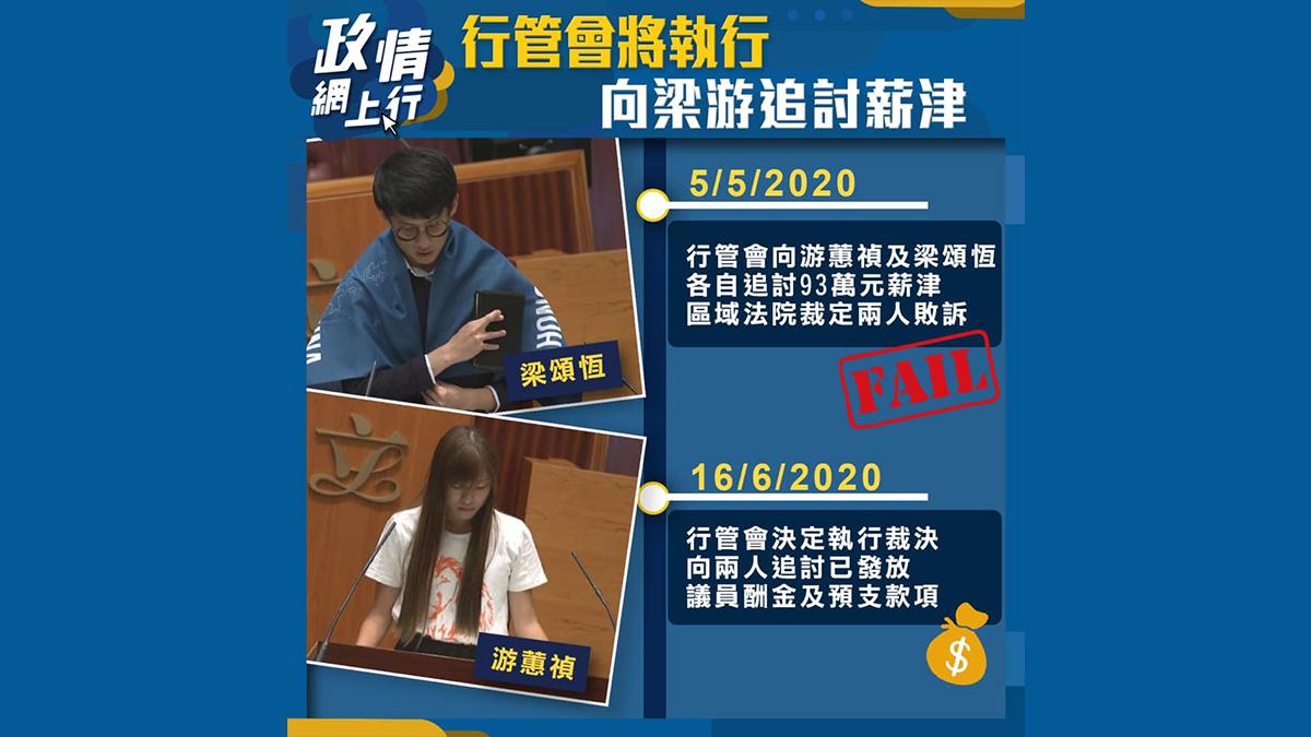 【政情網上行】行管會將執行 向梁游追討薪津