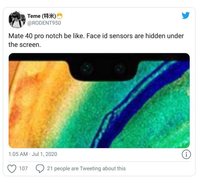 瀏海屏幕或保留?HUAWEI Mate 40 Pro 渲染圖曝光!