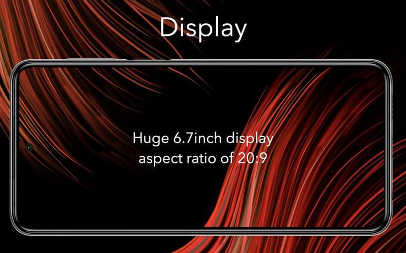 ▲ 配備 6.7 吋 20:9 比例 FHD+ 開孔屏