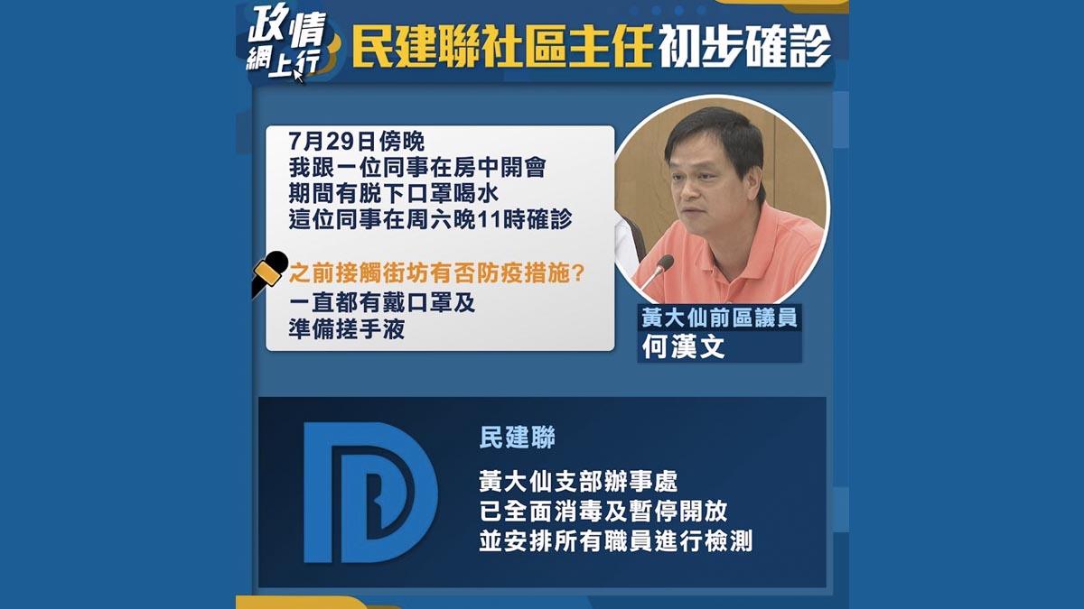 【政情網上行】民建聯社區主任初步確診