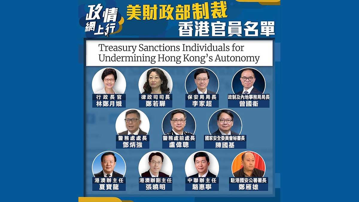 【政情網上行】美財政部制裁香港官員名單