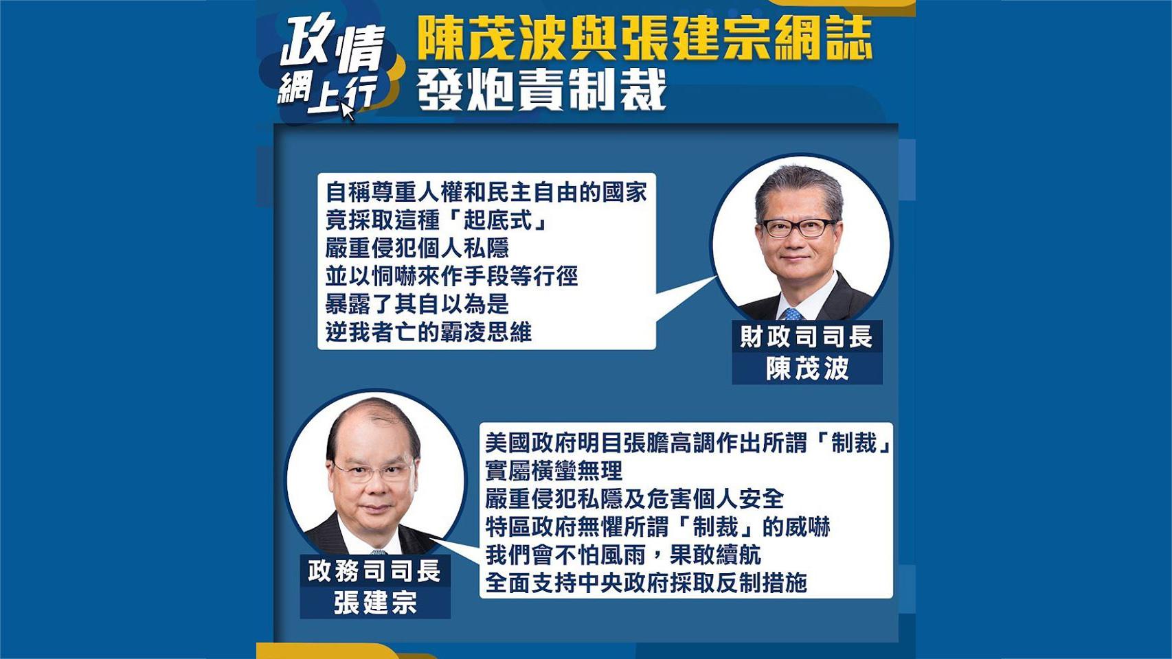 【政情網上行】陳茂波與張建宗網誌發炮責制裁