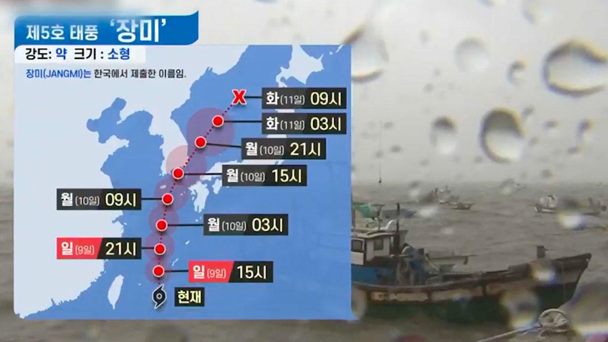 南韓氣象部門預測薔薇周一登陸南部 可能加劇災情
