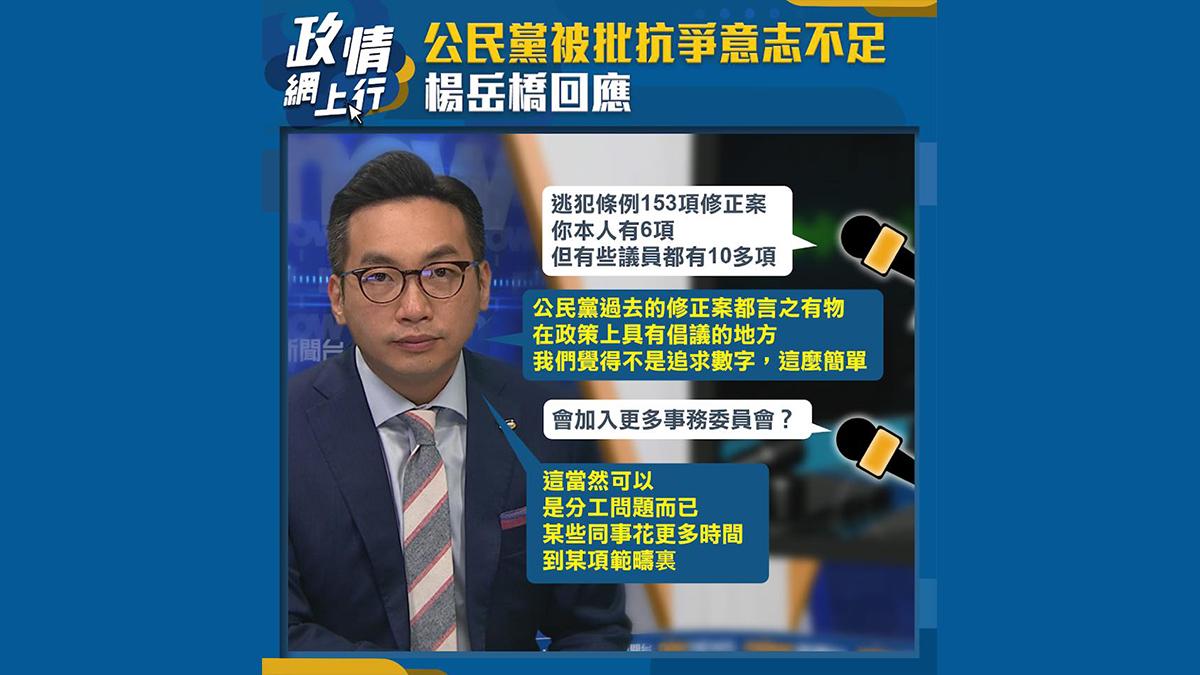 【政情網上行】公民黨被批抗爭意志不足 楊岳橋回應