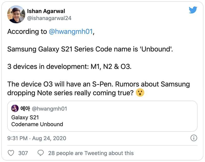 系列史上最勁升級 ? 傳 Galaxy S21 將加入 S Pen 筆控