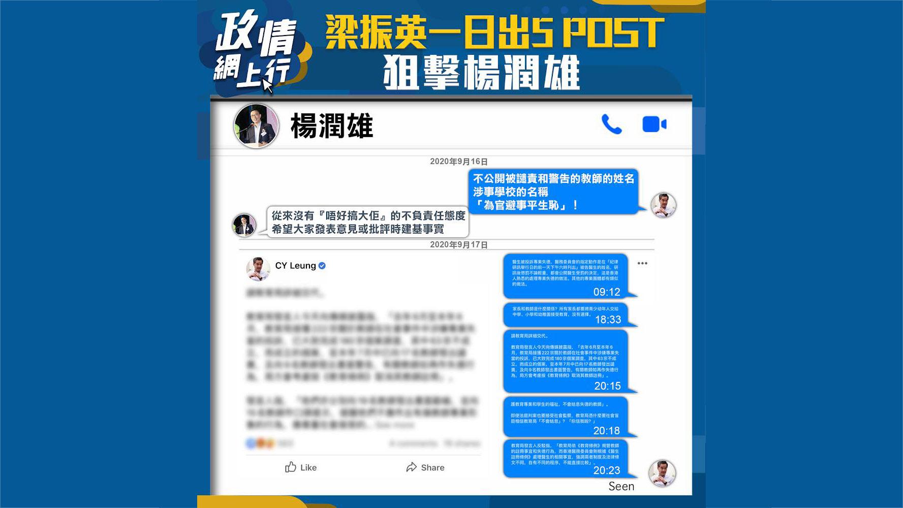 【政情網上行】梁振英一日出5 POST狙擊楊潤雄