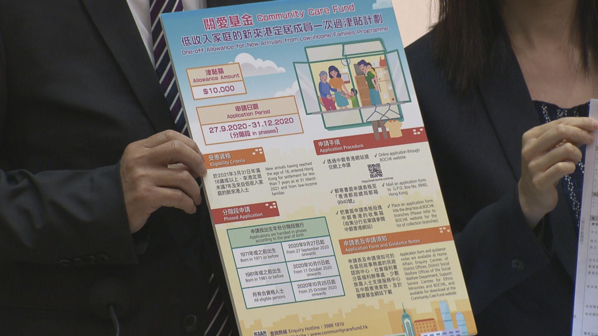 政府向低收入新來港人士派1萬元 首批周日起可申請