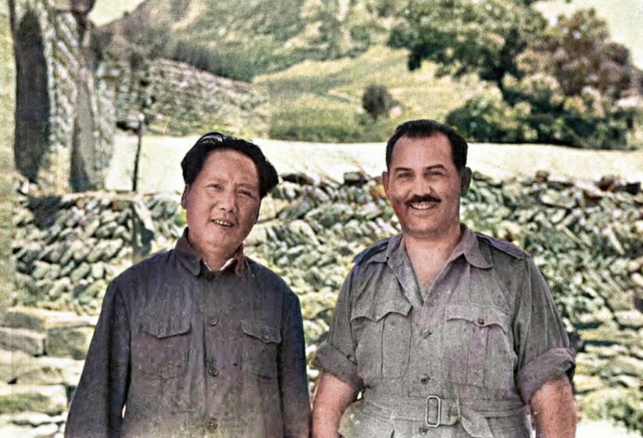 已故中共領導人毛澤東與美國記者的合照
