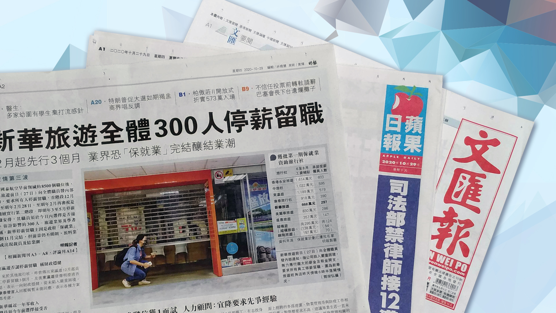 【報章A1速覽】新華旅遊全體300人停薪留職 12月起先行3個月 業界恐「保就業」完結釀結業潮;「這是全國一盤棋 不是地方的事」司法部禁律師接12港人案