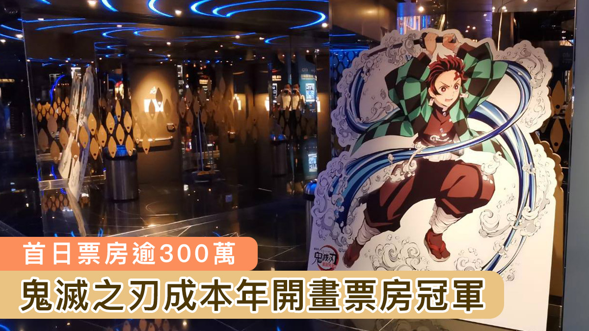 鬼滅之刃香港上映首日票房逾300萬 成本年開畫票房冠軍