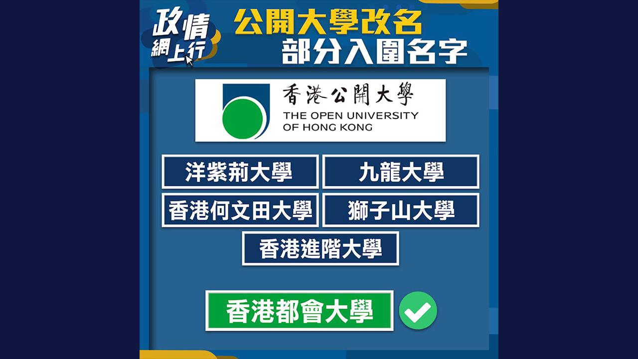 【政情網上行】公開大學改名部分入圍名字