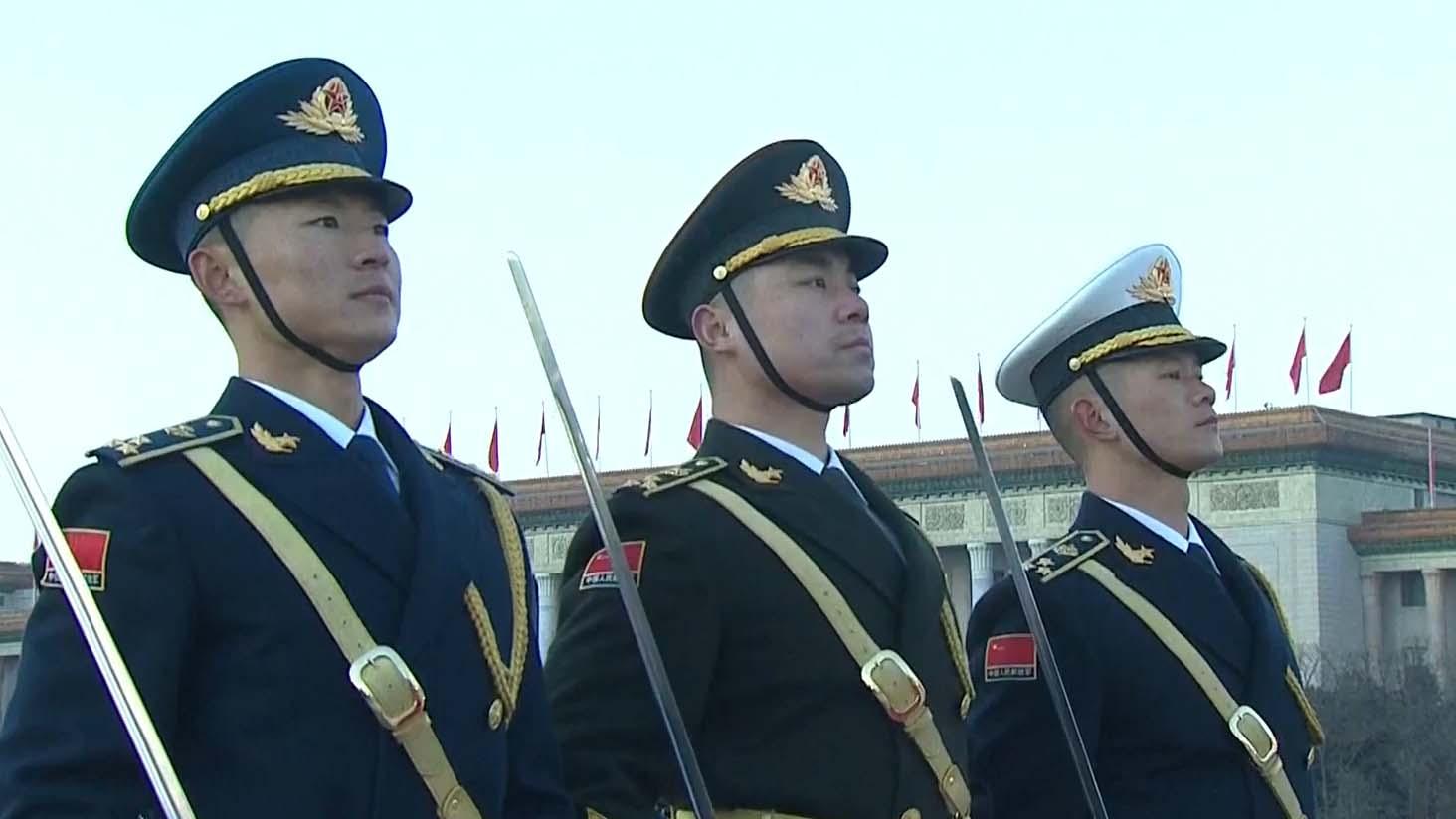 北京天安門廣場早上舉行元旦升旗儀式