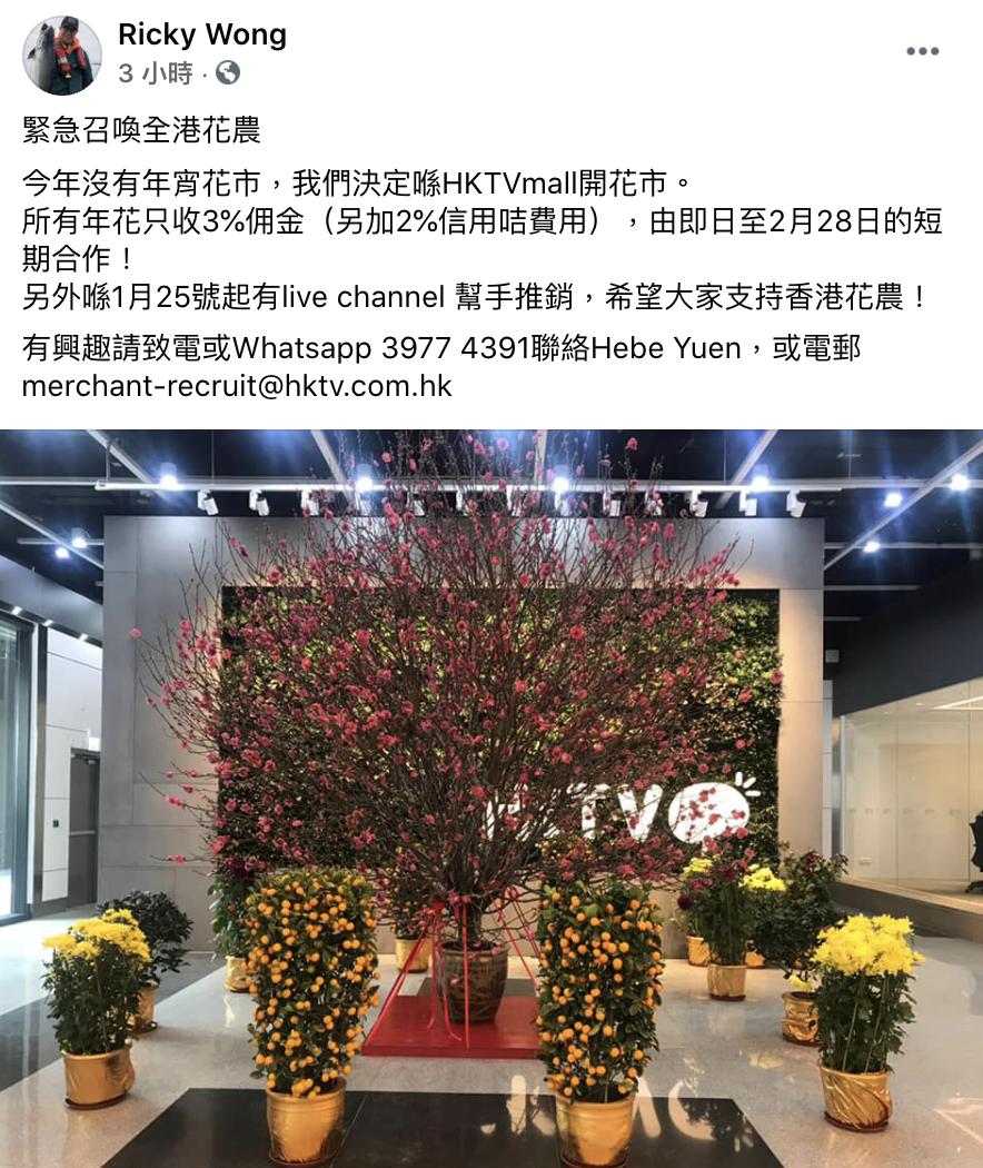 政府取消年宵 HKTVmall搞網上花市撐本地花農