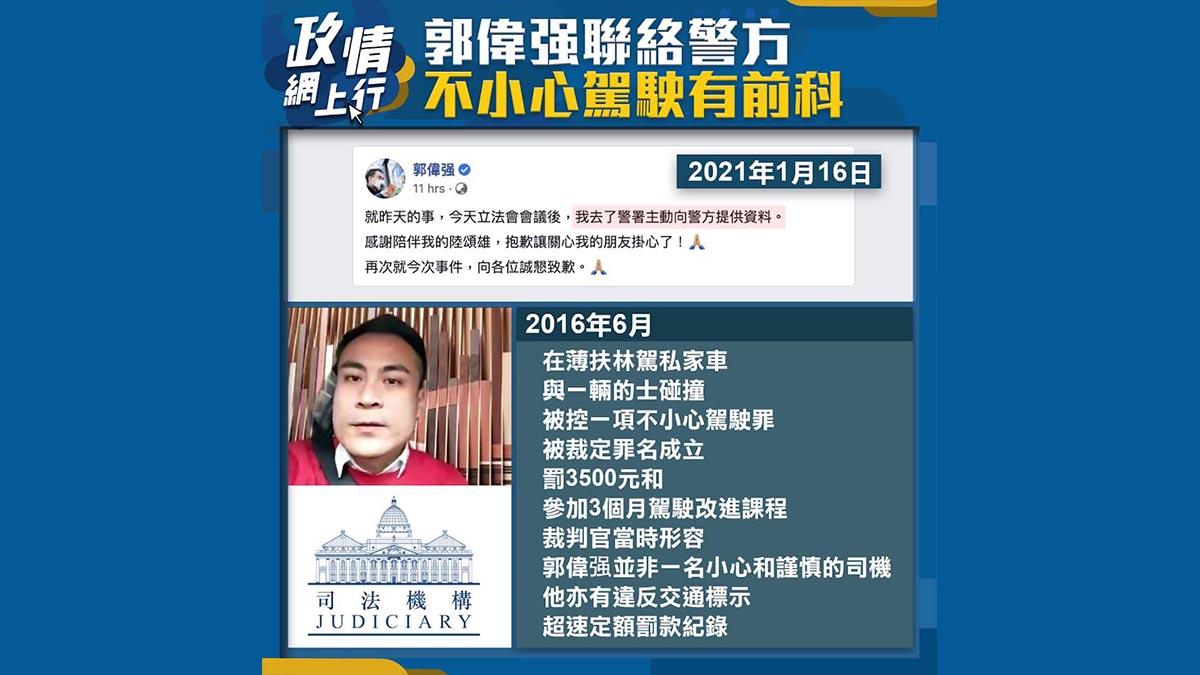 【政情網上行】郭偉强聯絡警方 不小心駕駛有前科