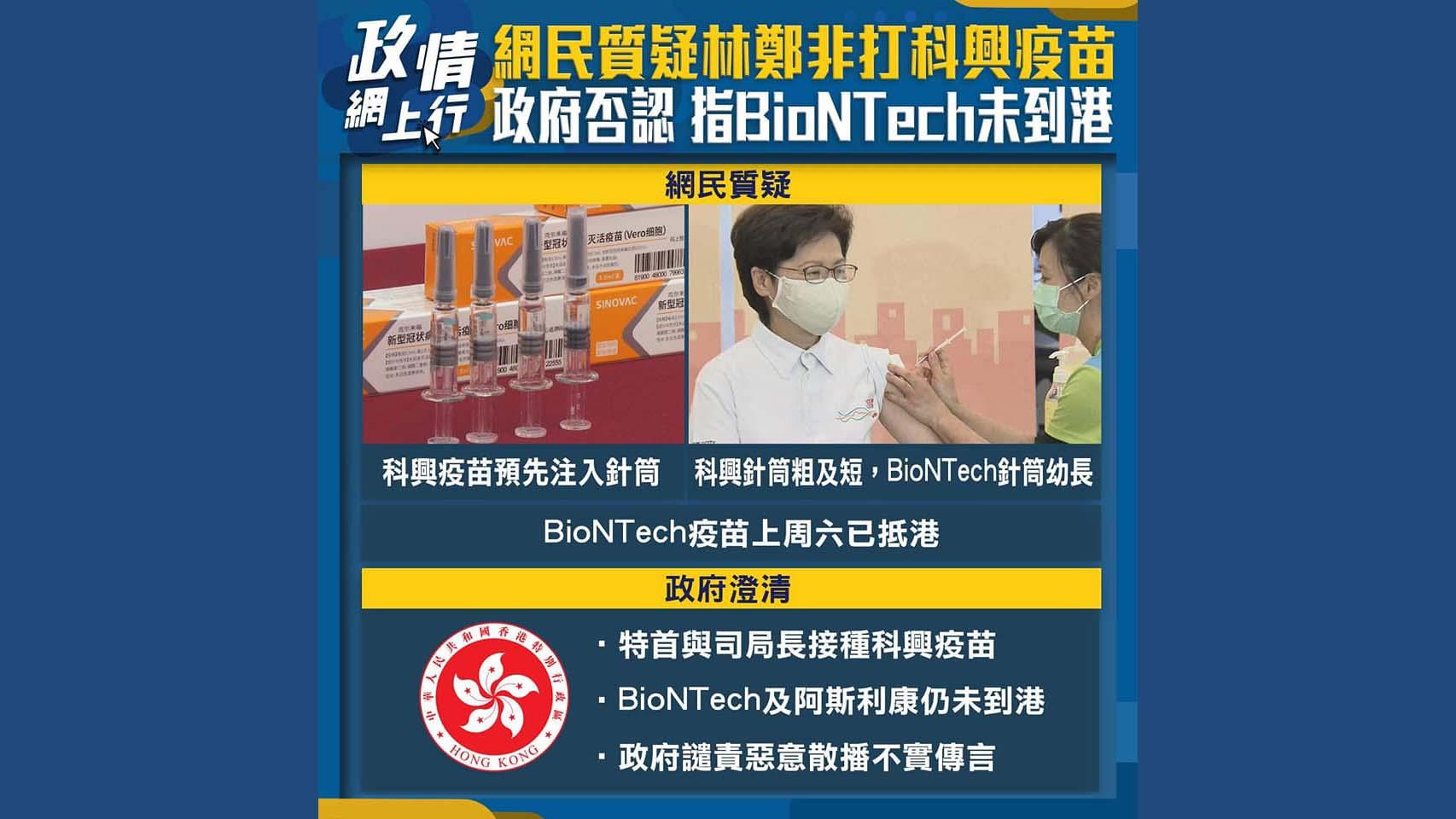 【政情網上行】網民質疑林鄭非打科興疫苗 政府否認 指BioNTech未到港