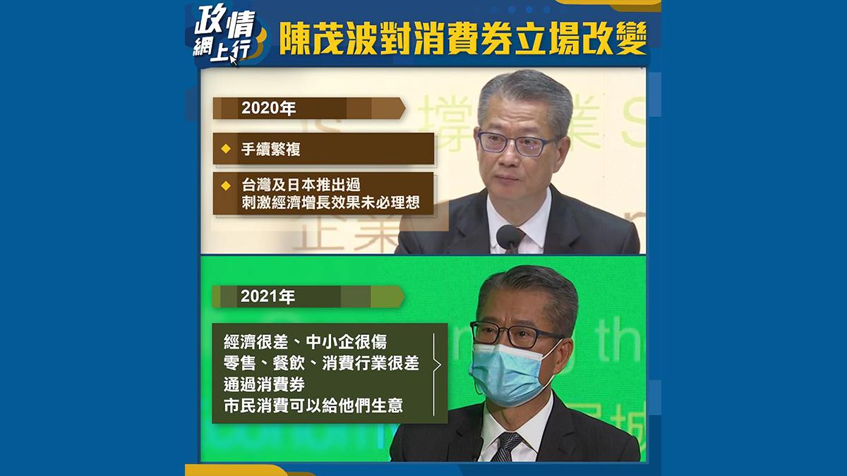 【政情網上行】陳茂波對消費券立場改變