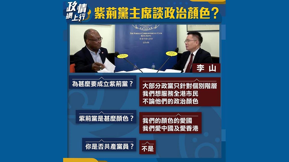 【政情網上行】紫荊黨主席談政治顏色