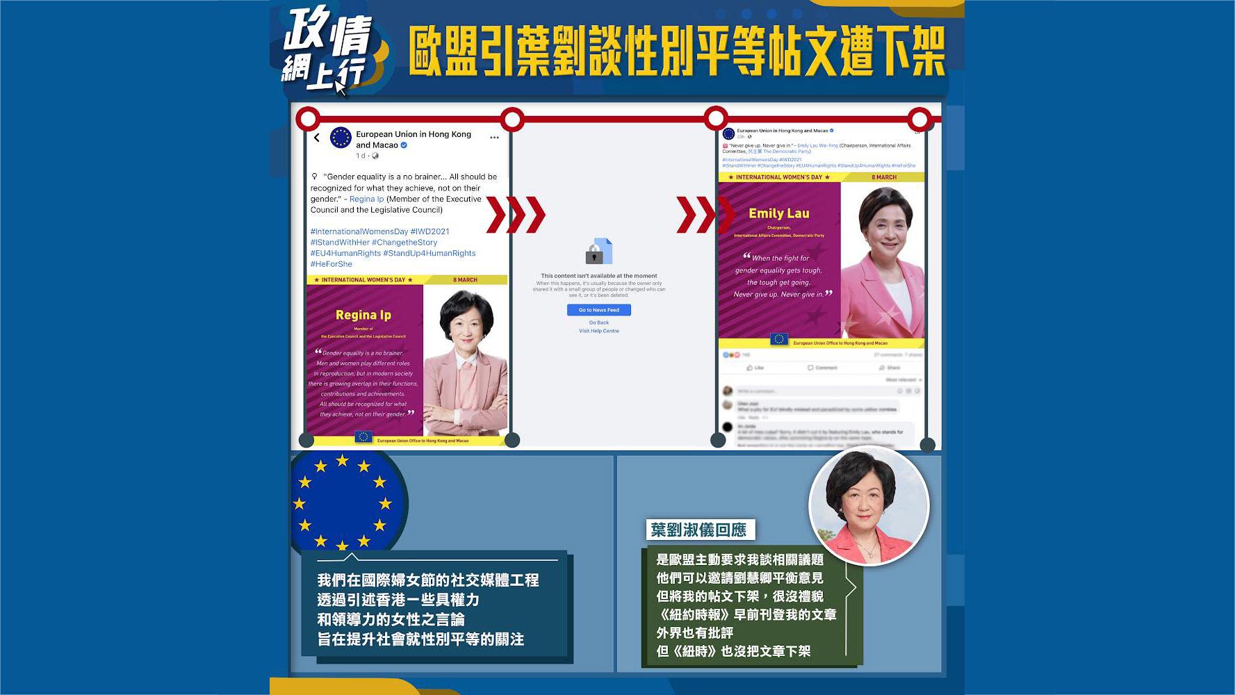 【政情網上行】歐盟引葉劉談性別平等帖文遭下架