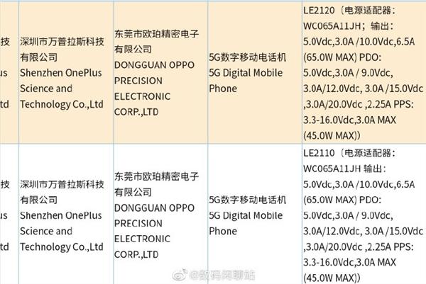 OnePlus 9 正式入網國內公信部:全系列均標 65W 快充及4500mAh 雙電池