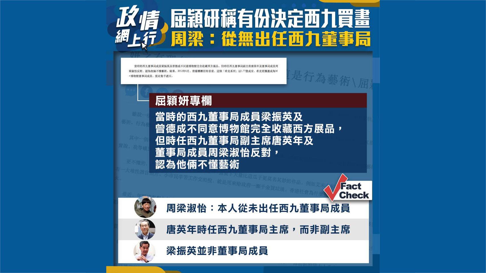 【政情網上行】屈穎妍稱有份決定西九買畫 周梁:從無出任西九董事局