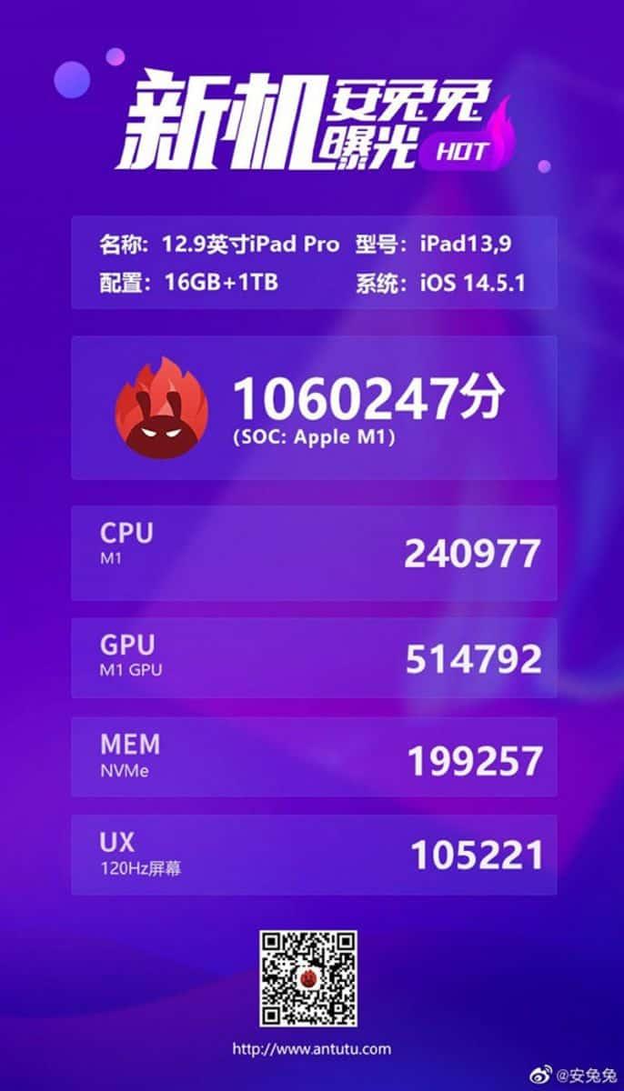 多核表現快 Snapdragon 888 近倍,iPad Pro 硬件測試成績曝光