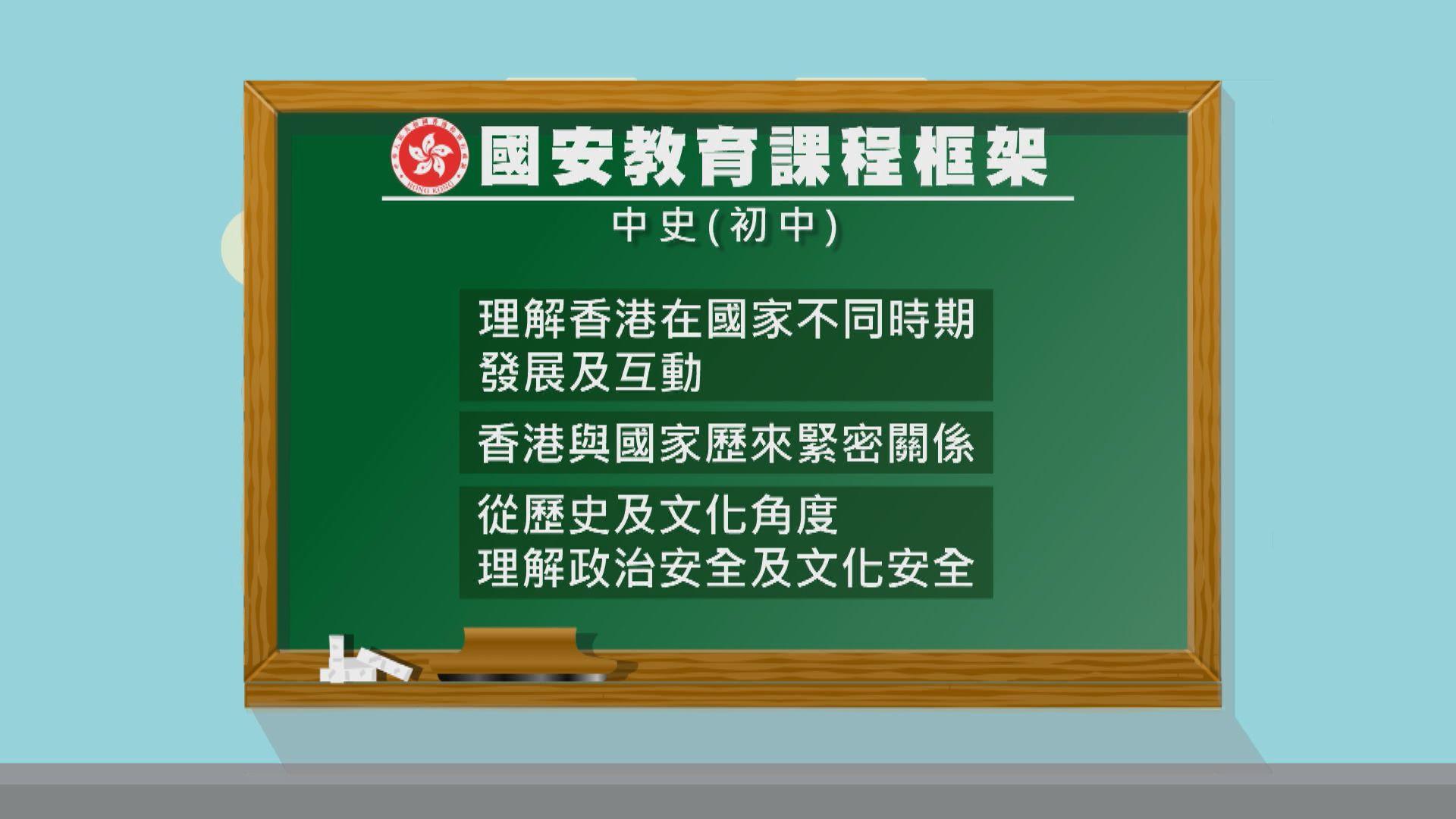 教育局公布初中中史、歷史科等國安教育課程框架