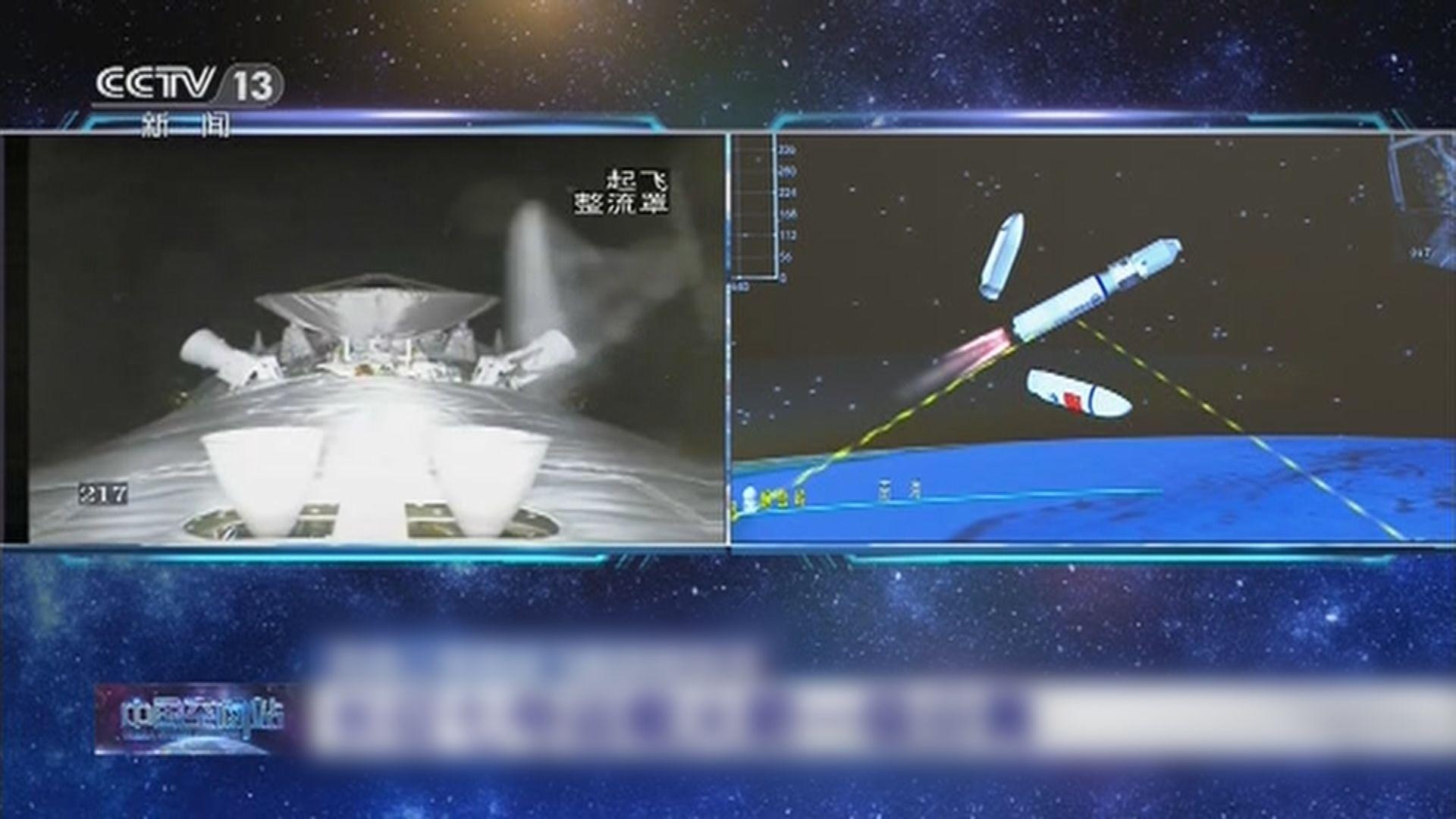 天舟二號貨運飛船發射升空 飛船和火箭成功分離