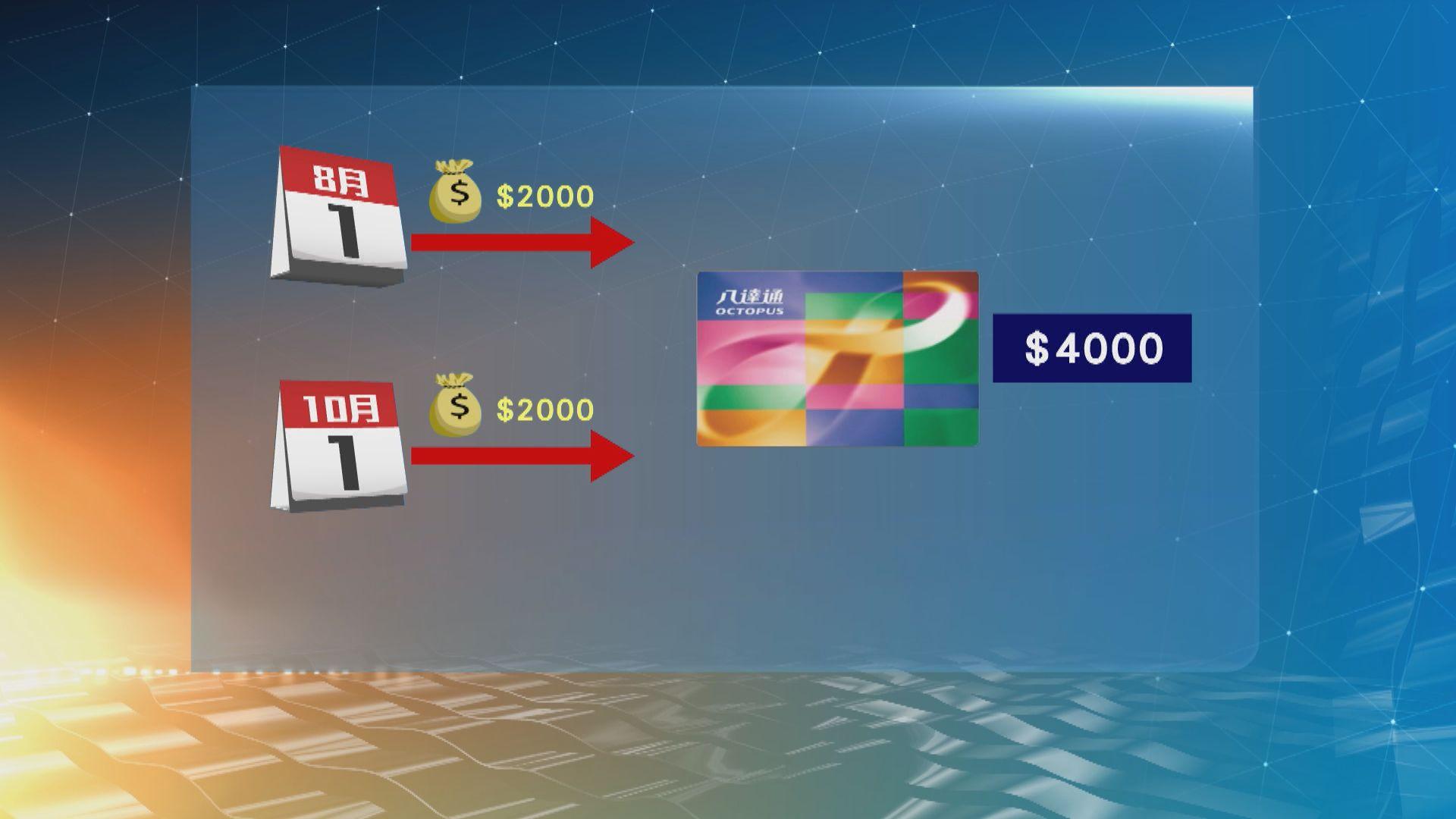 若選用八達通,最快在8月及10月初分別收到兩張2000元消費券