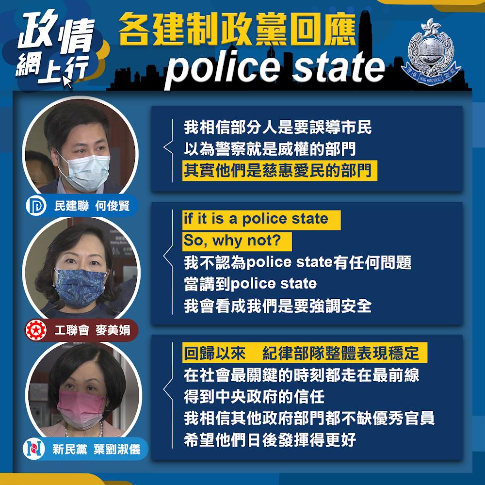 【政情網上行】各建制政黨回應 Police State