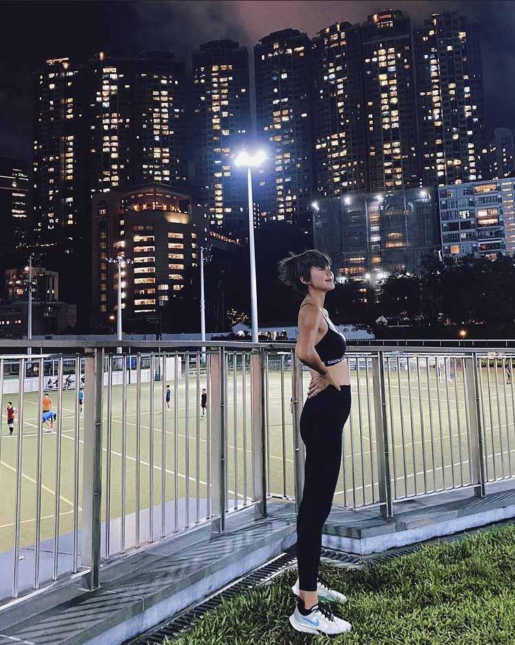 梁諾妍在社交平台上載跑步照片