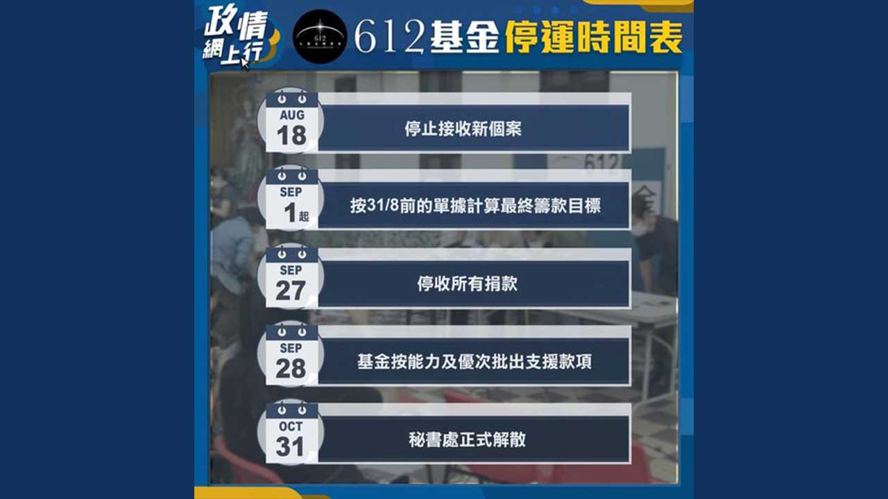 【政情網上行】612基金停運時間表