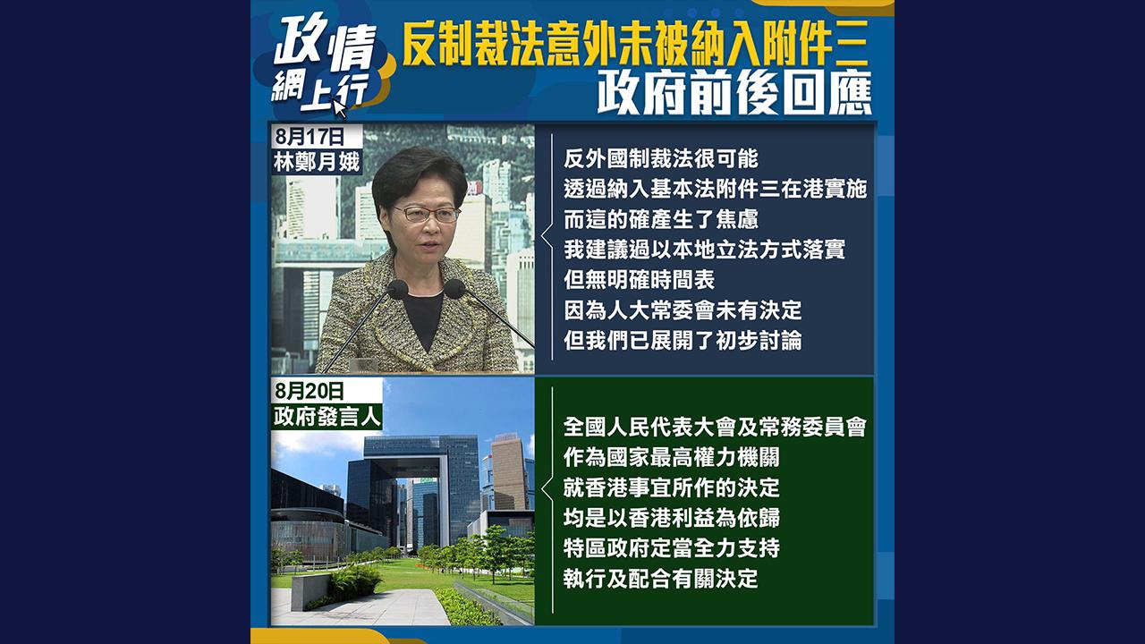 【政情網上行】反制裁法意外未被納入附件三 政府前後回應
