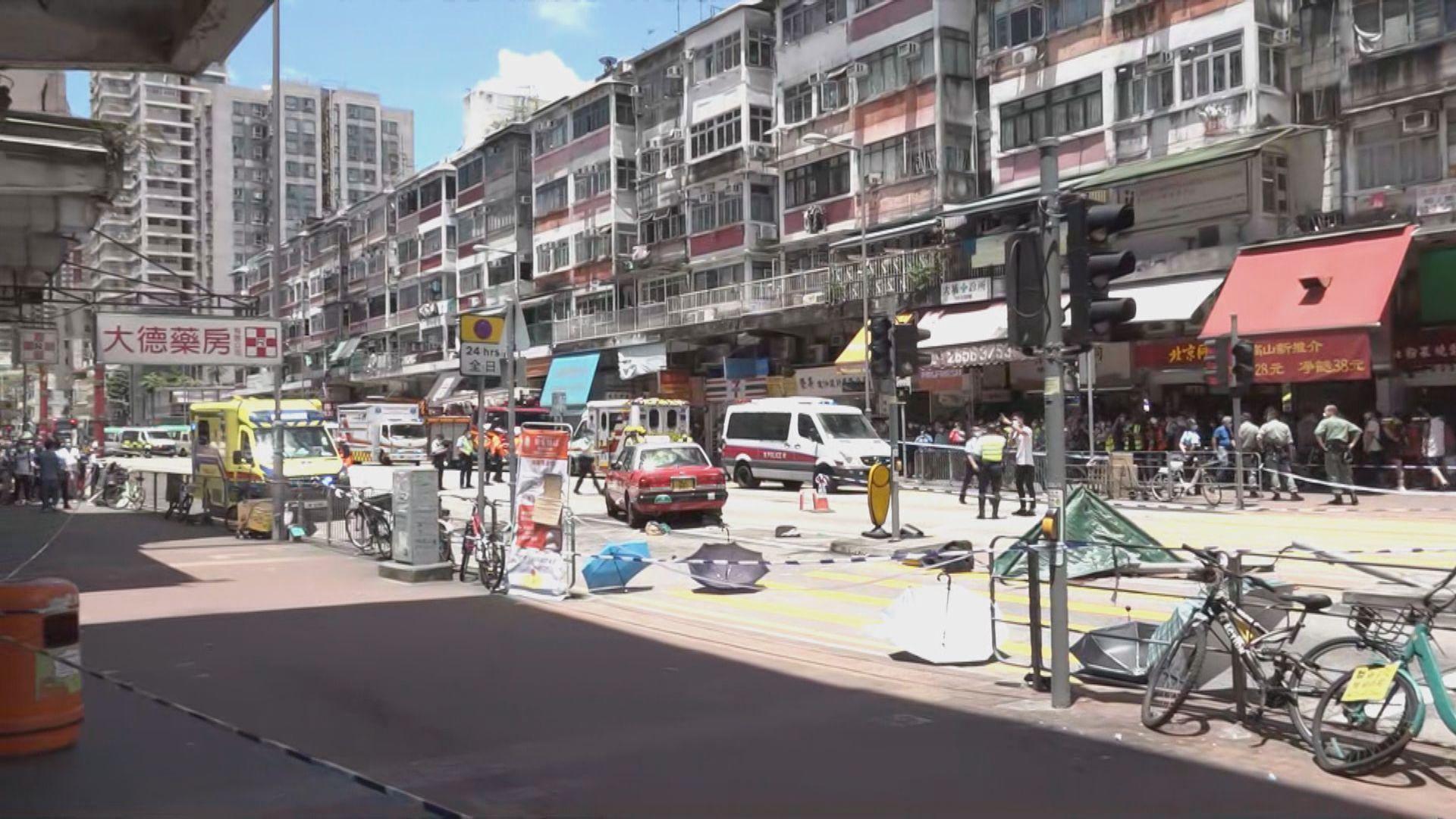 大埔的士撞途人至少一死八傷 的士司機涉危駕致他人死亡被捕