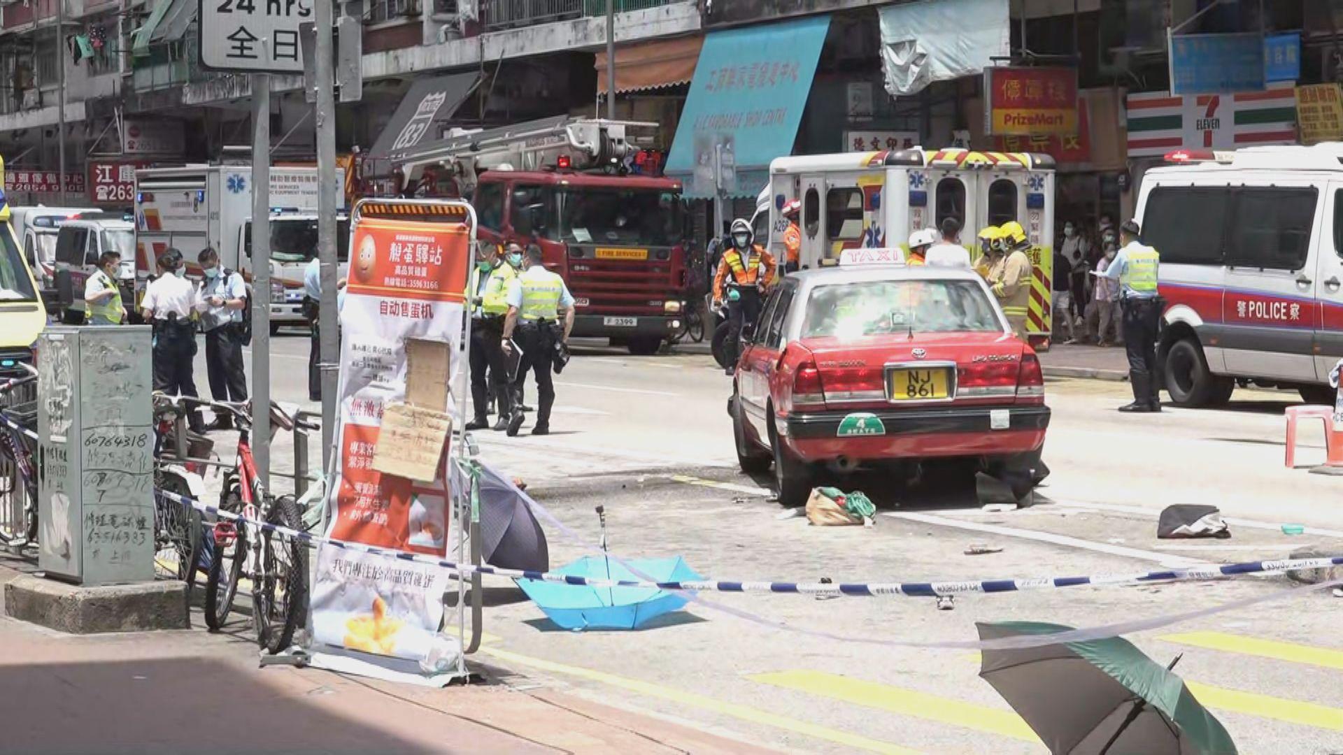 大埔的士撞途人一死九傷包括小童及孕婦 的士司機被捕