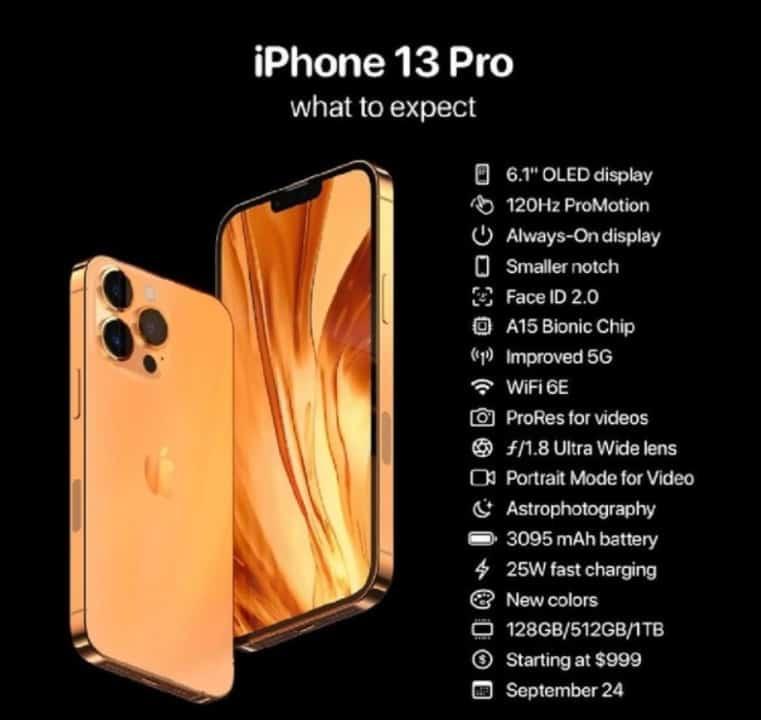 Apple iPhone 13 系列全規格配置及價錢曝光