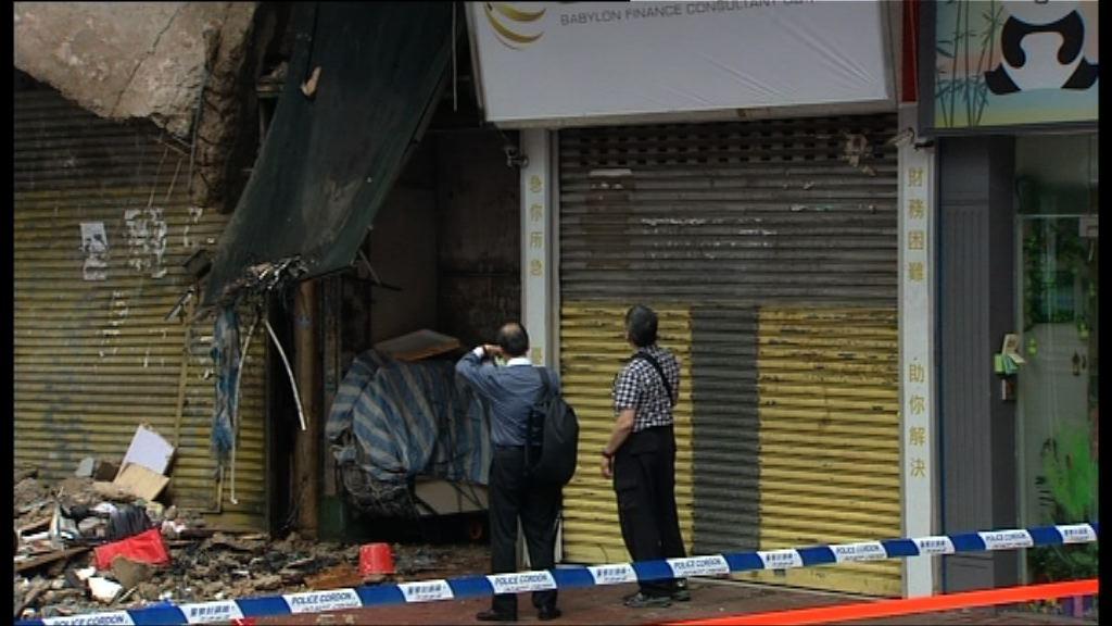 屋宇署估計紅磡唐樓露台因失修和大雨致倒塌