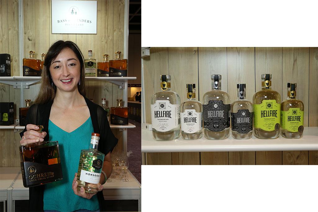 來自澳洲Royal Agricultural Society of Victoria帶來的多款獲奬烈酒(右)和以霞多麗釀製的特級白蘭地酒(左)。