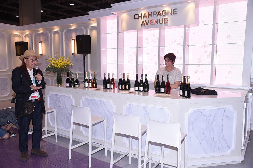 法國香檳釀造者協會帶來4個酒區共7家釀造者,還於展場內新設的香檳大道(Champagne Avenue)內舉辦香檳試酒會,介紹產自法國中小型酒莊的香檳。