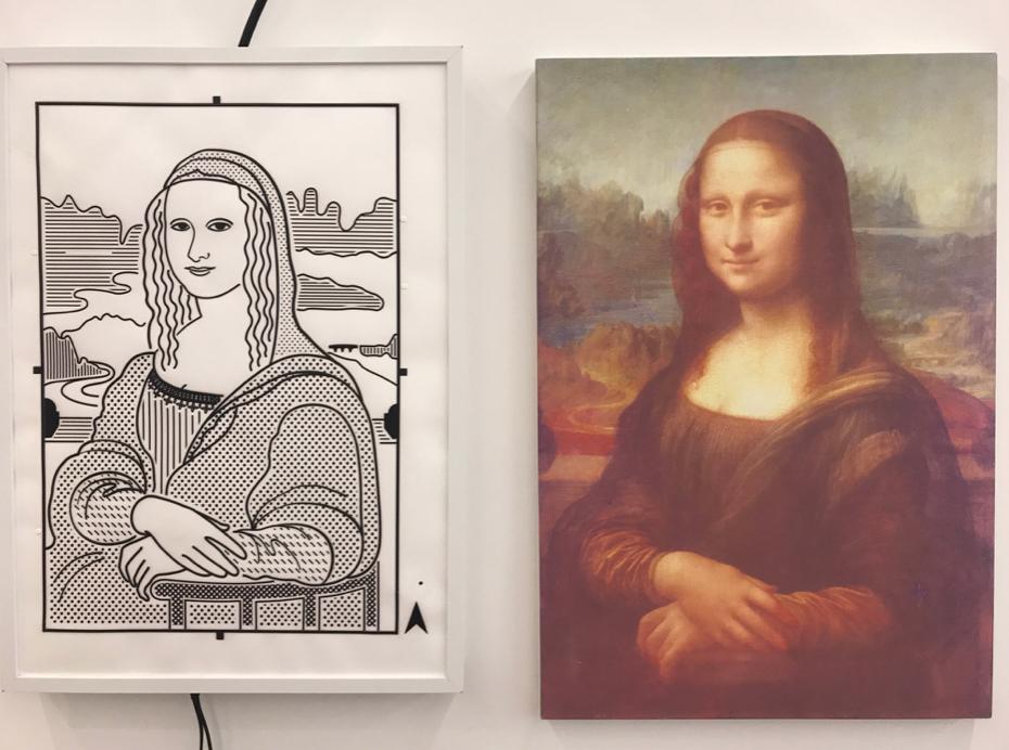會場另有一個展覽,其中這個展品,按左圖特定位置,會有錄音詳細描述《蒙羅麗莎的微笑》這幅名畫