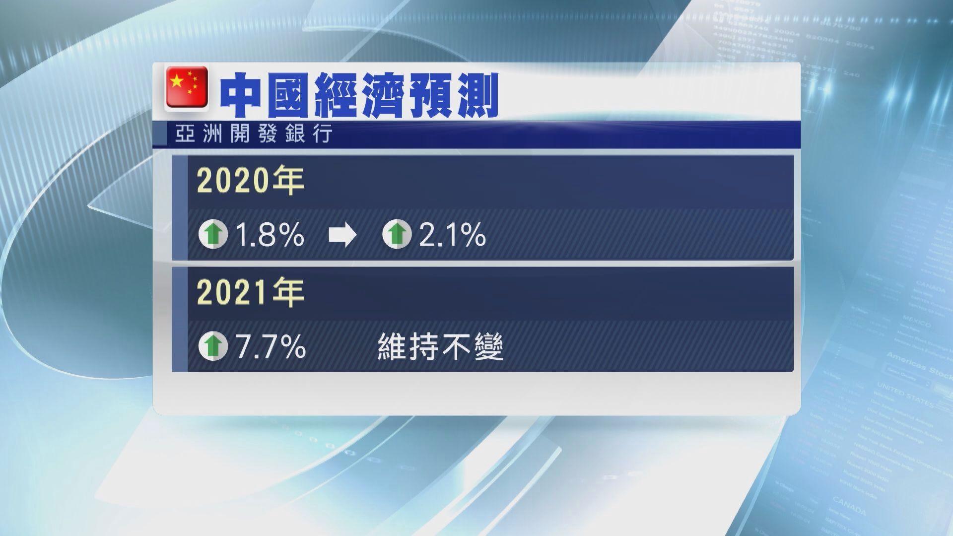 亞開行升今年中國經濟增長預測至2.1%