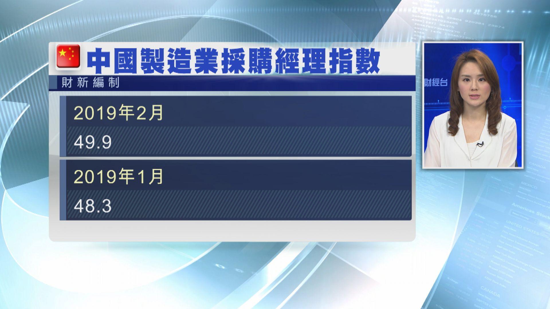 【見三個月高】2月財新製造業PMI升至49.9
