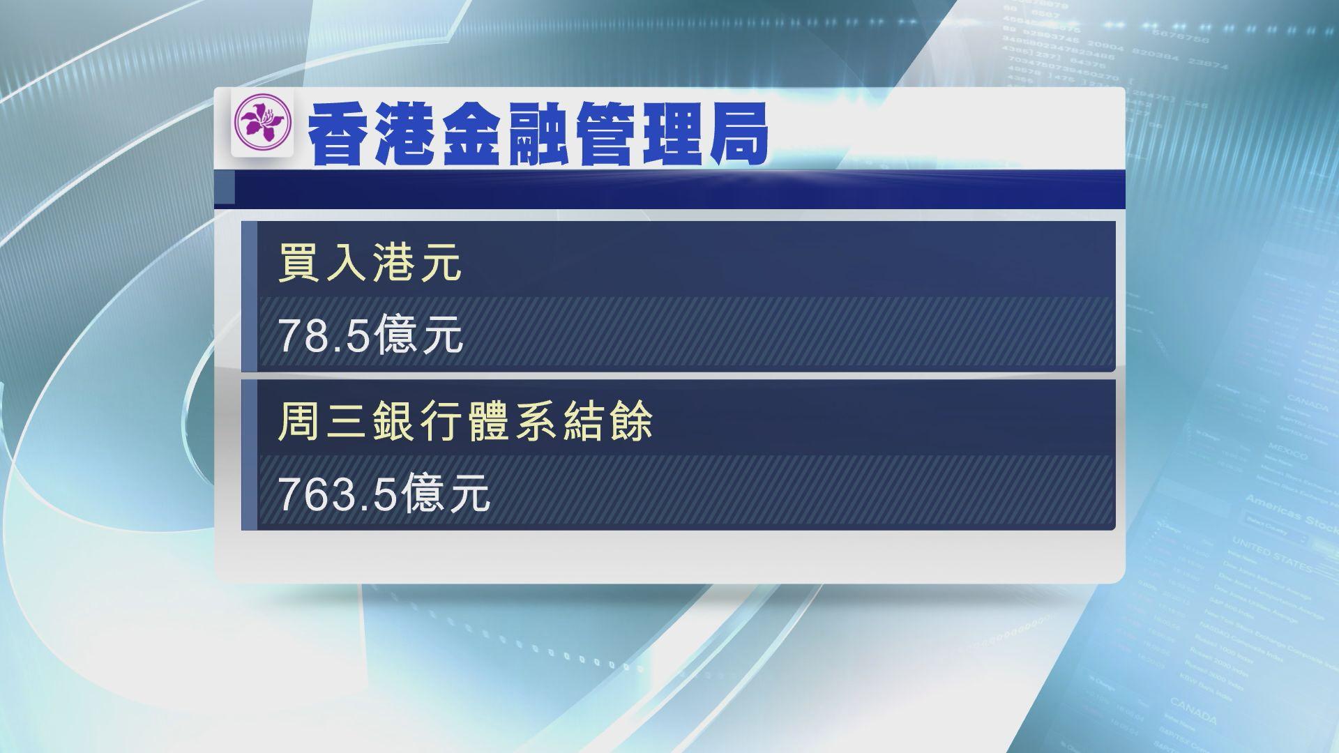 【港匯再轉弱】金管局再買入逾78億港元沽盤