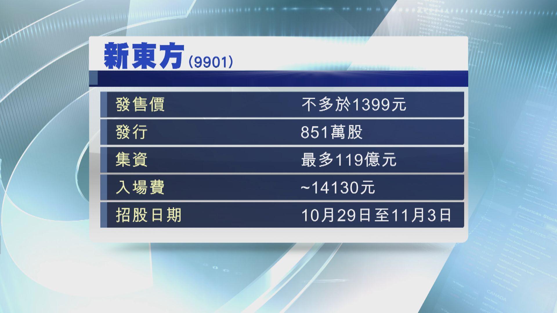 新東方周四起招股 入場費約14130元