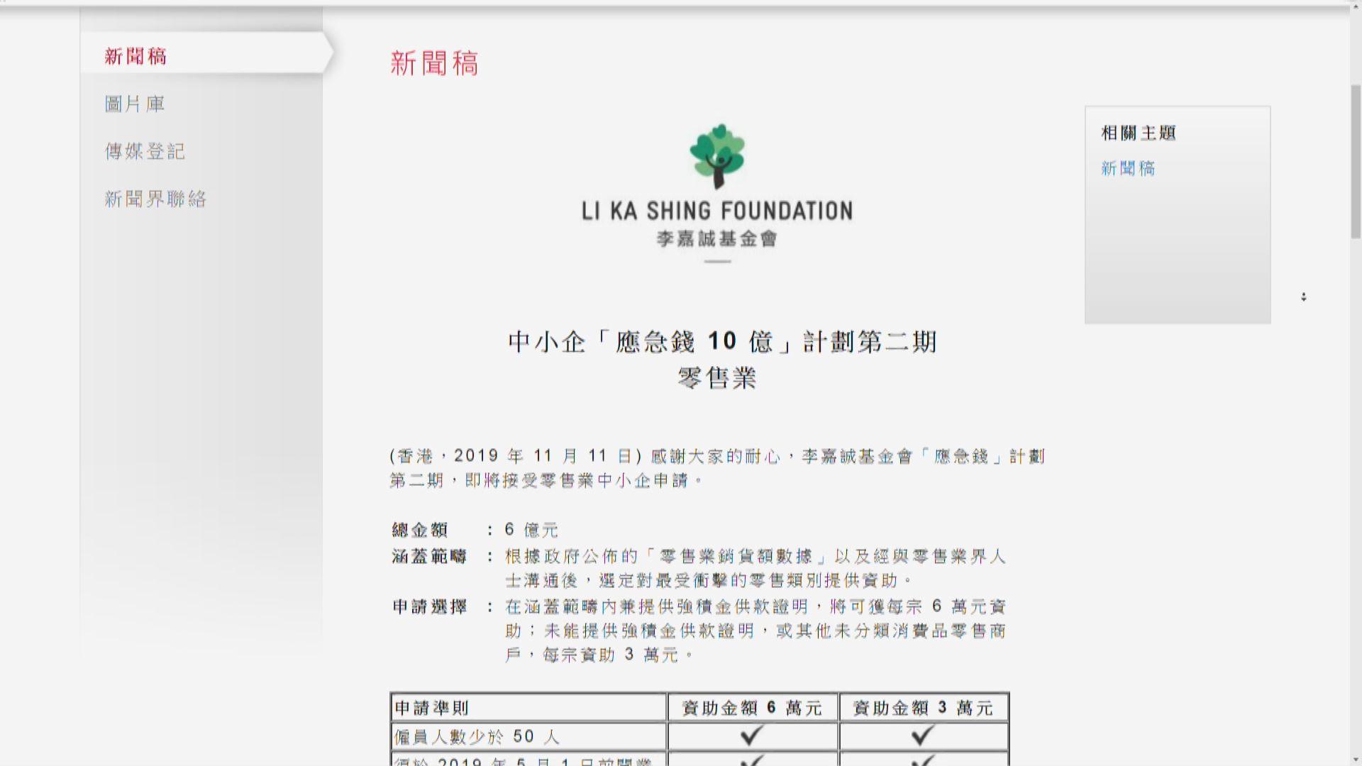 【第二期援助】李嘉誠基金會「應急錢」助零售業 共涉6億元