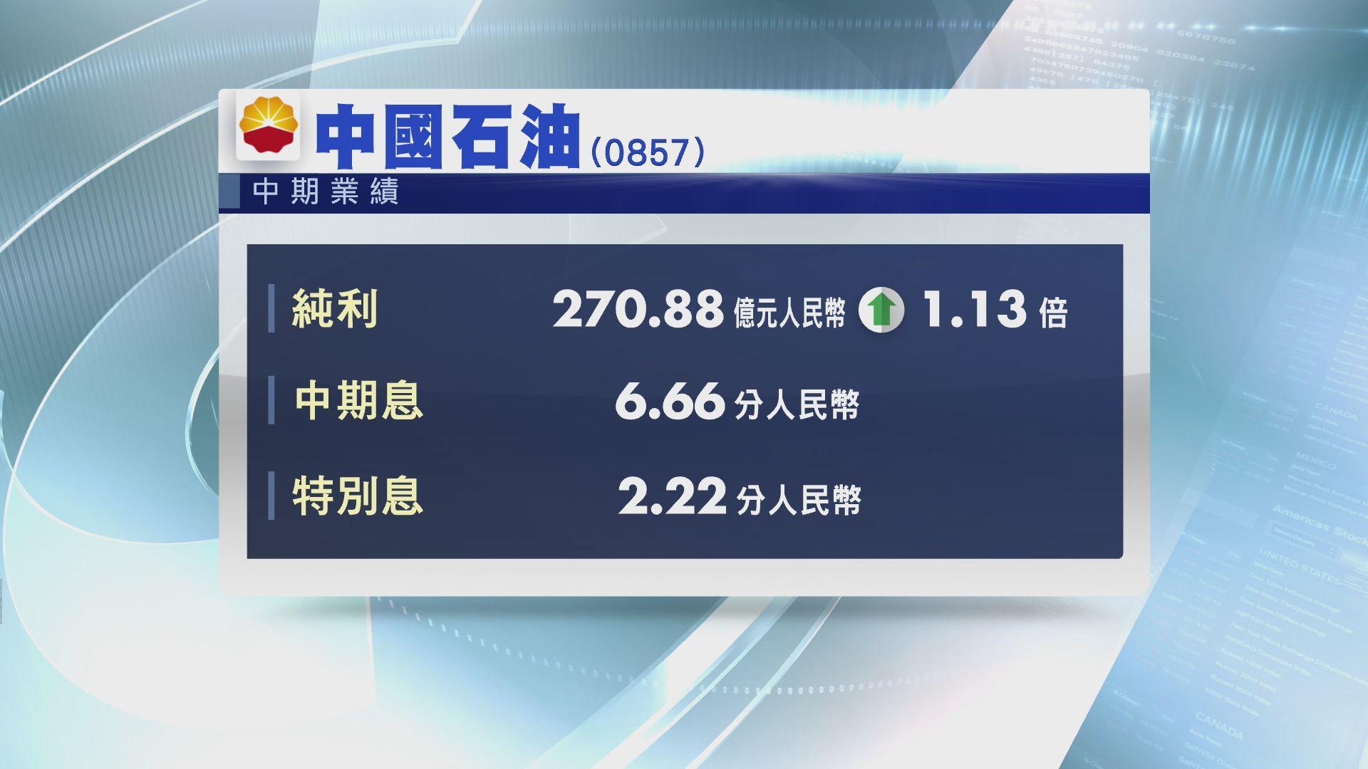 【業績速報】中石油中期多賺1.13倍 連特息派8.88分人幣