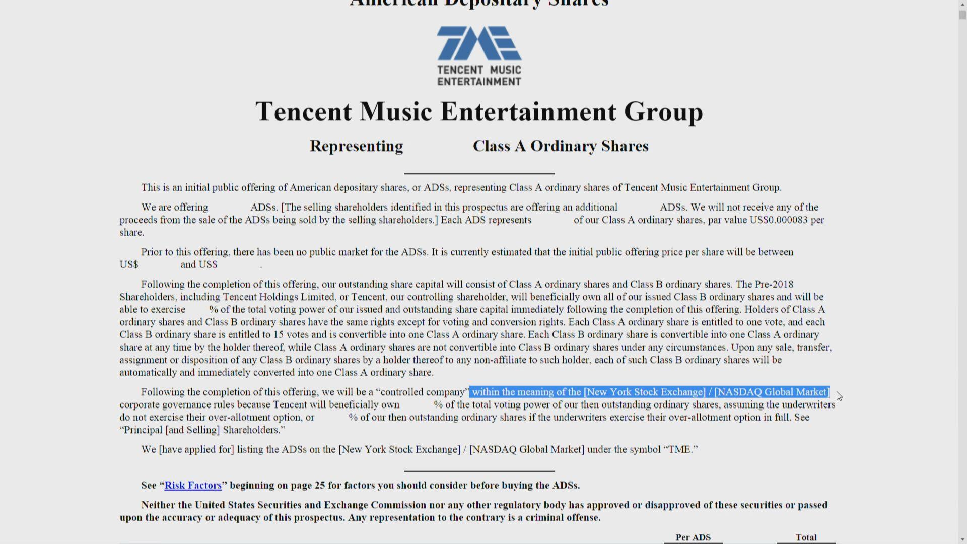 【未透露集資規模】騰訊音樂提交美國上市申請