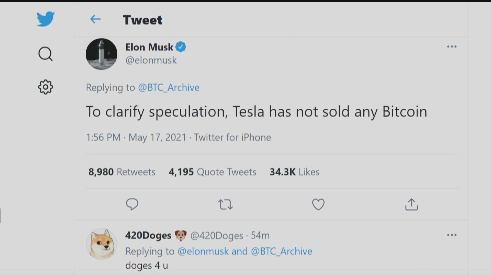 馬斯克澄清Tesla冇沽貨 Bitcoin即彈