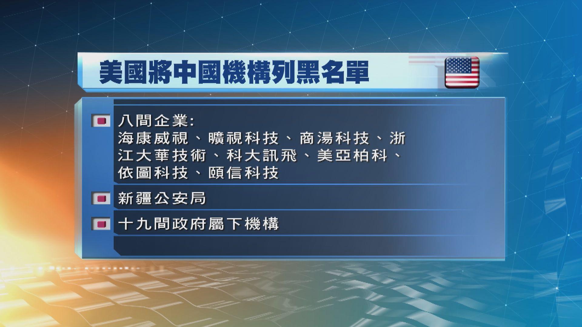 【涉打壓少數族裔】美國將28中國機構列入貿易黑名單