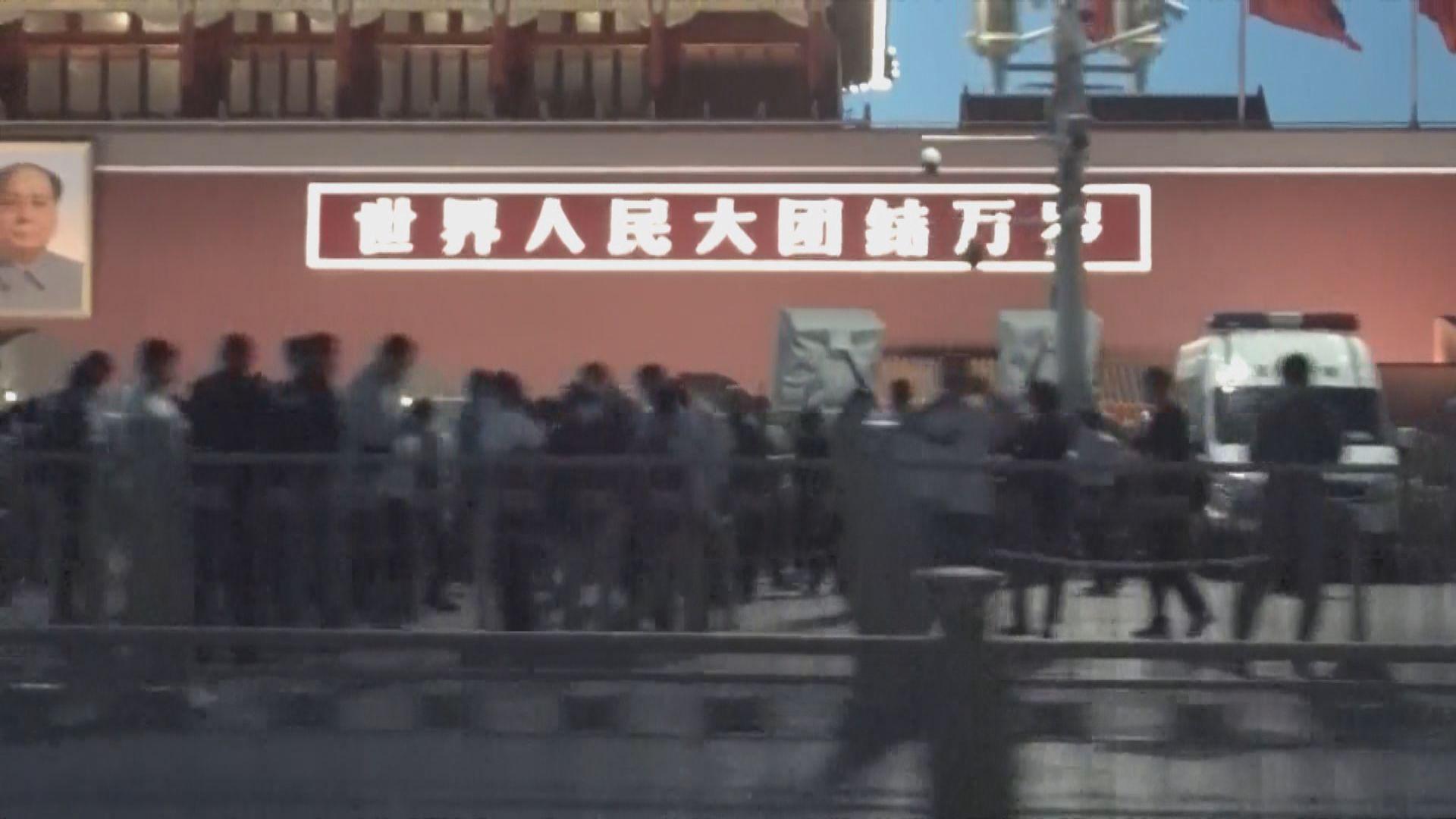 六四前夕北京市面平靜 天安門有警車戒備