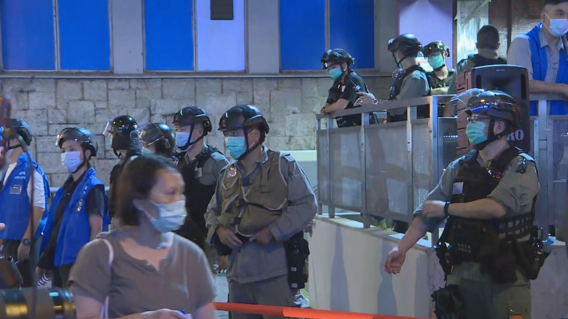 831九個月 大批警員在太子站外戒備